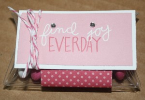 At Pebbles in my Pocket, one of my favorite stores, I found these clear plastic mini pillow boxes!  I added some m&m's and placed a strip of background paper around it, added a message rectangle that I cuted up with some jewels, and then tied it with twine!!