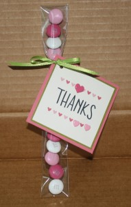Love these candy tubes from Stampin Up!  They hold treats such as m&ms, jelly beans, etc.  All I added was a Thanks square that I cuted up with some brads, I tied the square on with ribbon and Voila - a super cute thank you!!