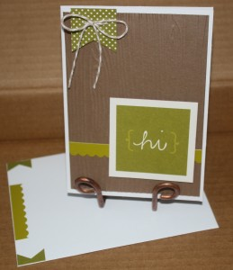 This card was simple and fun - I used my Stampin Up woodgrain embossing folder on a sheet of brown cardstock and added a sticker border and a banner up in the corner with some Flax colored Twine!