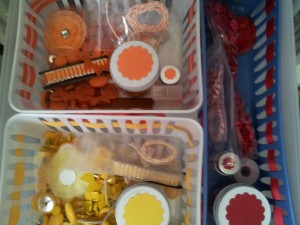 Here is where I put all of my red, orange, and yellow embellishments!
