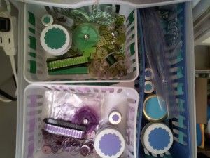 Here is where I have put my green, blue, and purple embellishments!!
