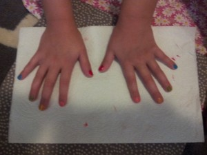 We painted the colors of the rainbow on their fingers and their toes!