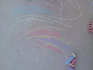 We made lots and lots of rainbows with chalk!!