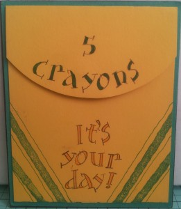 "A crayon box made from Summer Sun cardstock and stamped. ""Perfect Plaids"" from Stampin Up! were used to add the green lines!"