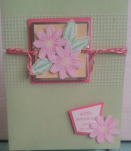 A sweet daisy card made with a metal edged tag and some magic mesh!