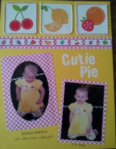 Scrapbook layout made using icons from my daughters clothing for inspiration!!