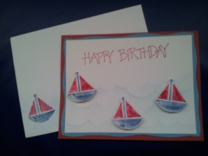 Boat card made with an oldie but a goodie from SU! - Seasonal Solids