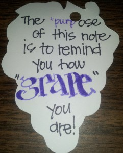 Text on the back of the diecut for the purple/grape treat!!