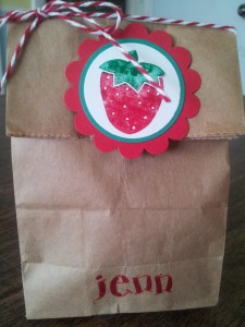 This little tiny kraft sack is crazy cute!! Love it - I added a stamped strawberry and some twine to cute it up!!