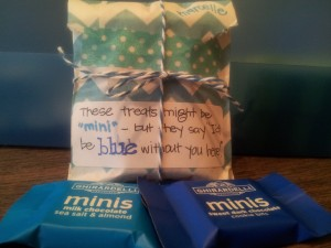 Cute paper sack with 4 of these Ghirardelli mini's put inside!! Taped shut with washi!  Added this label and tied with blue twine!