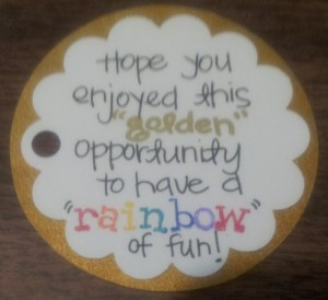 Note attached to the Hershey Nuggets Rainbow treat!!
