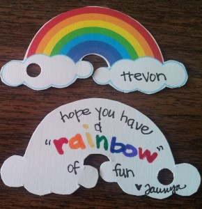 "Rainbow tag - front and back shown here!  Says - Hope you have a ""Rainbow"" of fun!!"