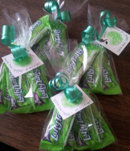 Green Apple Laffy Taffys in cello bags with a tag!