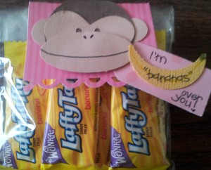 "Banana Laffy Taffys on a cello bag with monkey tag - I am ""bananas"" over you!!"