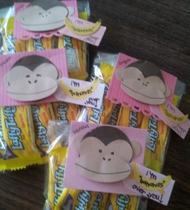 "Cute monkey tags to go with the Laffy Taffys - I am ""bananas"" over you!!"