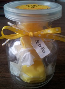 This photo shows how cute and little the jar is - I fit 5 pieces of taffy in it!
