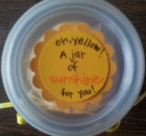 Cute jar from Hobby Lobby filled with yellow taffy!! Label says - Oh, Yellow!! A Jar of Sunshine for you!!