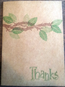 I used a SU! stamp set here too - It is called Definitely Decorative Branch.  And the Thanks is from another SU! set called Fall Fun! Since these were for my dad I kept it CAS and One Layer!
