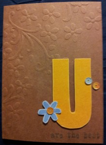The embossing folder I used is Elegant Bouquet by SU!  The stamp set I used was All About U - a SU! set.  I added some Doodlebug Design sequins to give it a little sparkle!!