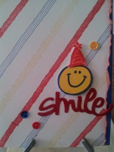 Made this fun, primary colored striped card using 2 old SU! stamp sets - Perfect Plaids and Smile!! I tore the edge and sponged it with red and I sponged a line of blue inside the card so it shows under the torn edge