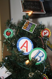 A close - up of the top of our Back to School Tree